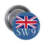 Prefijo postal SW9 de Londres con Union Jack Pins