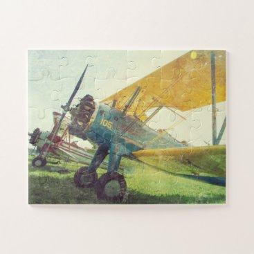 """Preflight Biplane"" Retro Airplane Oversized Jigsaw Puzzle"