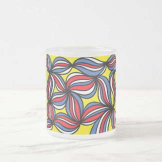 Prefontaine Abstract Expression Yellow Red Blue 10 Oz Frosted Glass Coffee Mug