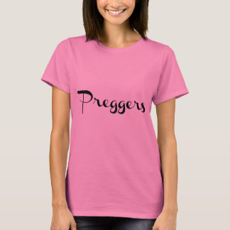 Preggers Script Black T-Shirt