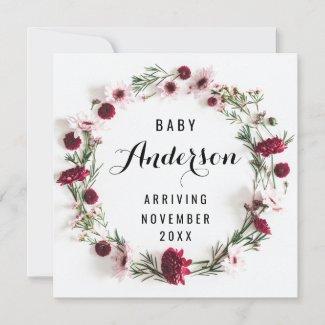 Pregnancy Announcement - Burgundy Floral Wreath
