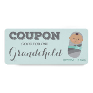 Pregnancy Announcement Coupon for Tan Grandchild