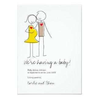 Pregnancy Announcement, Neutral Colors 5x7 Paper Invitation Card