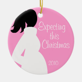 Pregnancy Christmas Circle Ornament Pink 2010
