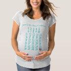 Pregnancy Countdown Maternity Weeks Mark Off Aqua Maternity T-Shirt