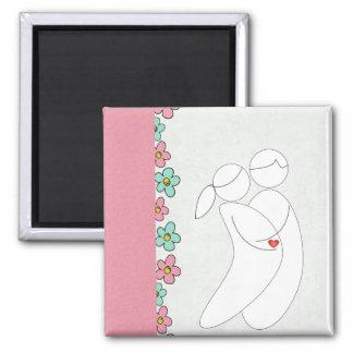 Pregnancy magnet(pink) 2 inch square magnet