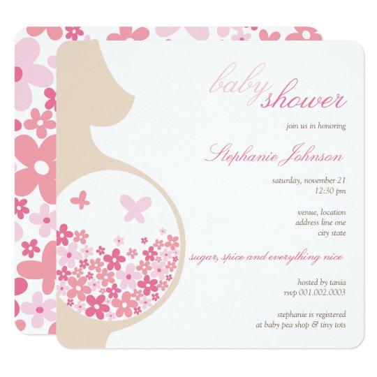 Pregnancy & Pink Daisies Girl Baby Shower Invite