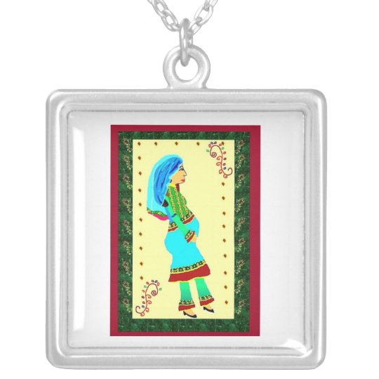 pregnant afghan woman silver plated necklace