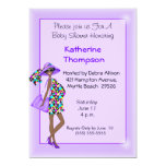Pregnant African American Mom Baby Shower Personalized Invitation