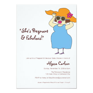 Pregnant  and Fabulous Baby Shower 5x7 Paper Invitation Card