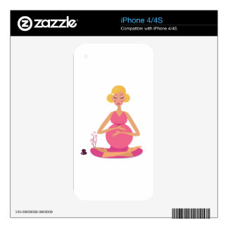 Pregnant girl : Pink with Gold hair Decal For The iPhone 4S