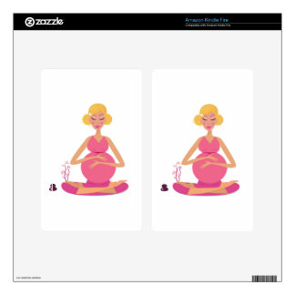 Pregnant girl : Pink with Gold hair Skin For Kindle Fire