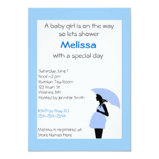 Pregnant Lady Blue and Black Shower Invitation