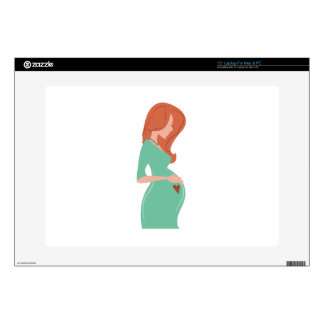 """Pregnant Lady Decals For 15"""" Laptops"""