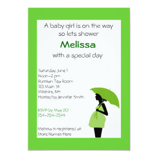 Pregnant Lady Green and Black Shower Invitation