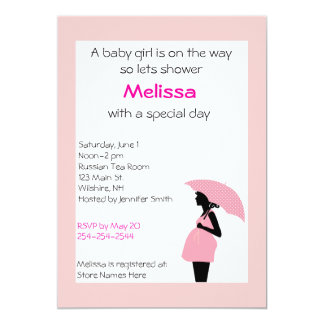 Pregnant Lady Pink and Black Shower Invitation
