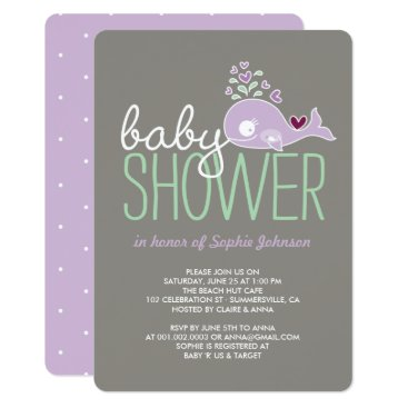 Beach Themed Pregnant Lilac Mommy Whale Girl Baby Shower Invite