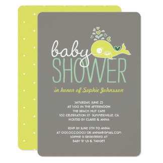 Pregnant Lime Whale Twins Boy & Girl Baby Shower Card