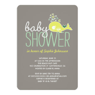 Pregnant Lime Whale Twins Boy & Girl Baby Shower 5x7 Paper Invitation Card