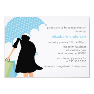 Pregnant Mom Baby Shower {blue} Card