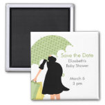 Pregnant Mom Baby Shower {green} 2 Inch Square Magnet