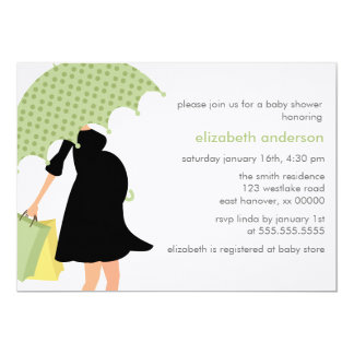 Pregnant Mom Baby Shower {green} Card