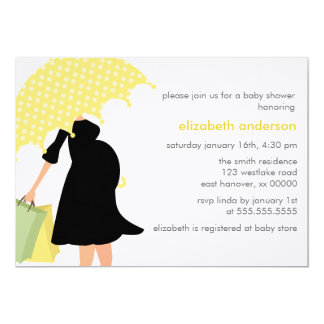 Pregnant Mom Baby Shower {yellow} Card