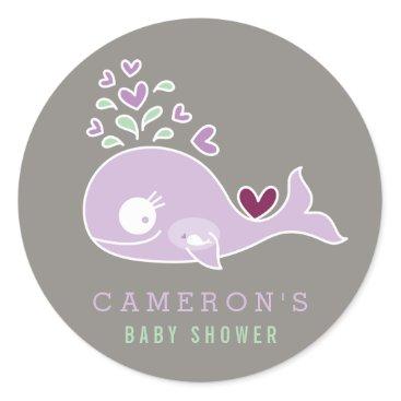 Beach Themed Pregnant Mom Purple Whale Girl Baby Shower Sticker