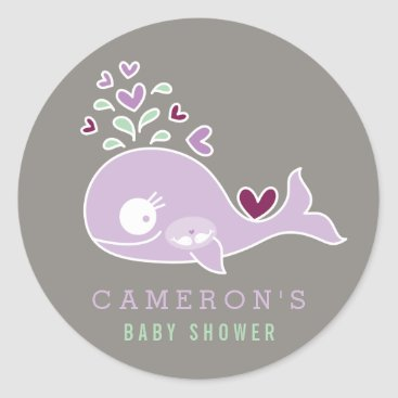 Beach Themed Pregnant Mom Whale Twin Girls Baby Shower Sticker