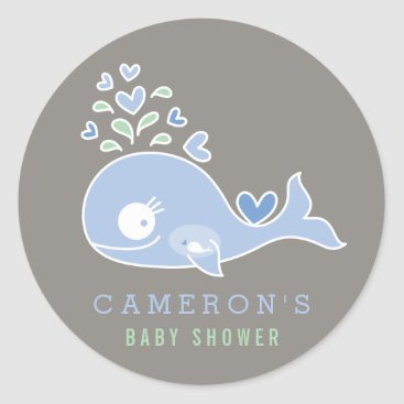 Beach Themed Pregnant Mommy Blue Whale Boy Baby Shower Sticker