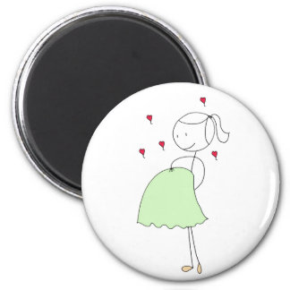 Pregnant Mommy (green) 2 Inch Round Magnet