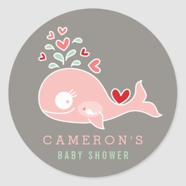 Beach Themed Pregnant Mommy Pink Whale Girl Baby Shower Sticker
