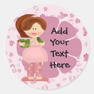 Pregnant Pickle Diva . Classic Round Sticker