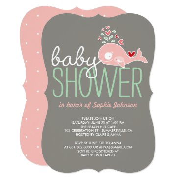 Beach Themed Pregnant Pink Mommy Whale Girl Baby Shower Invite