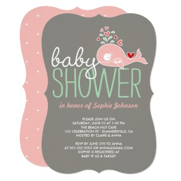 Beach Themed Pregnant Pink Whale Twin Girls Baby Shower Invite