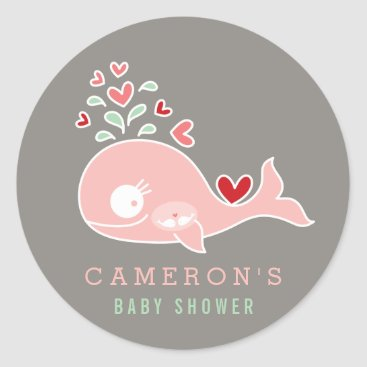 Beach Themed Pregnant Pink Whale Twin Girls Baby Shower Sticker
