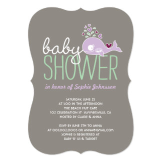 Pregnant Plum Whale Twin Girls Baby Shower Invite
