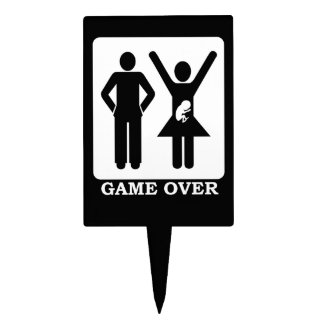 Pregnant Wife - Game Over Rectangle Cake Topper