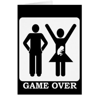 Pregnant Wife - Game Over Greeting Card