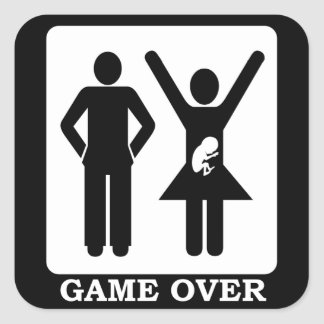 Pregnant Wife - Game Over Square Stickers