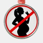 Pregnant Woman Alcohol Symbol Ornaments