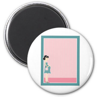 Pregnant Woman Border 2 Inch Round Magnet