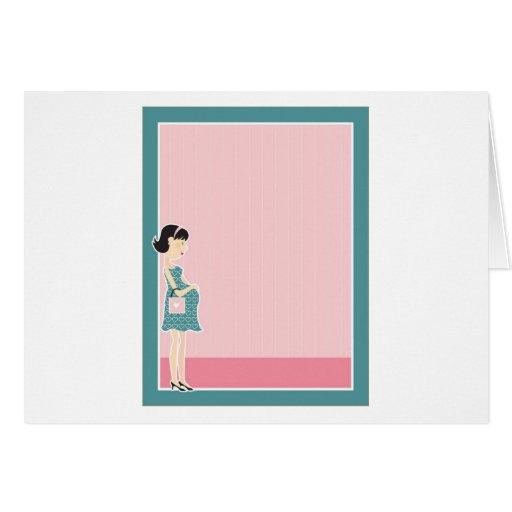 Pregnant Woman Border Greeting Card