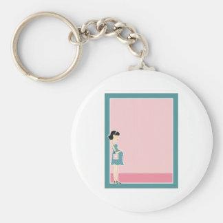 Pregnant Woman Border Keychain