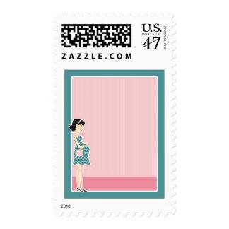 Pregnant Woman Border Postage Stamp