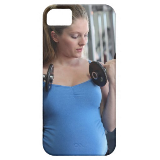pregnant woman exercising at health club iPhone 5 covers