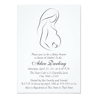 Pregnant Woman Profile Heart Baby Shower Invite