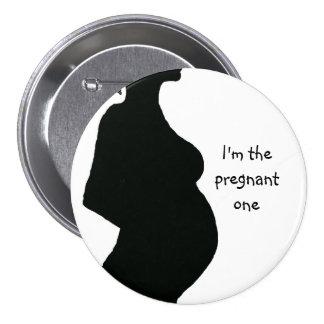 Pregnant Woman Silhouette - Pregnant One Pinback Button