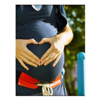 Pregnant woman tummy post card