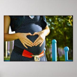 Pregnant woman tummy poster